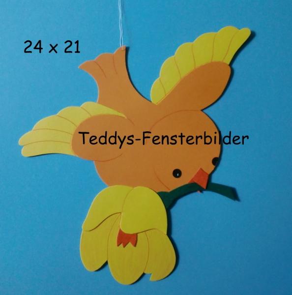 teddysfensterbilder  vogel mit blume
